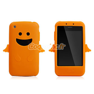 Coque apple iphone 3g 3gs silicone ange orange for Housse iphone 3gs