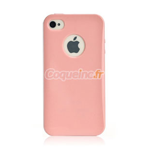 coque apple iphone 4 silicone trou logo rose. Black Bedroom Furniture Sets. Home Design Ideas