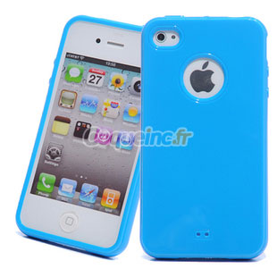 coque apple iphone 4s silicone trou logo bleu 305