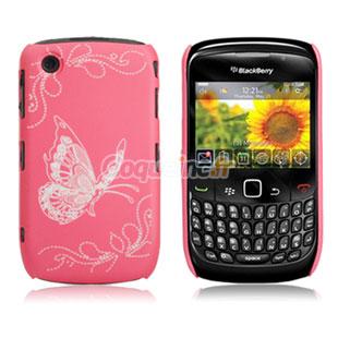 Coque blackberry curve 8520 papillon rose for Housse blackberry curve