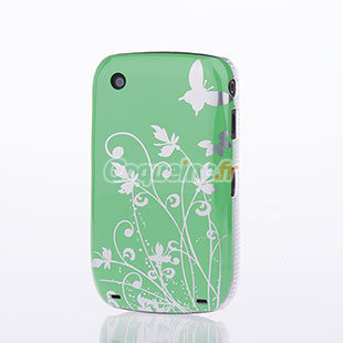 Etui plastique blackberry curve 8520 papillon verte for Housse blackberry curve
