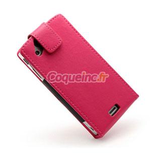 Pochette en Cuir Sony Ericsson Xperia Arc LT15i X12 - Rose Chaud