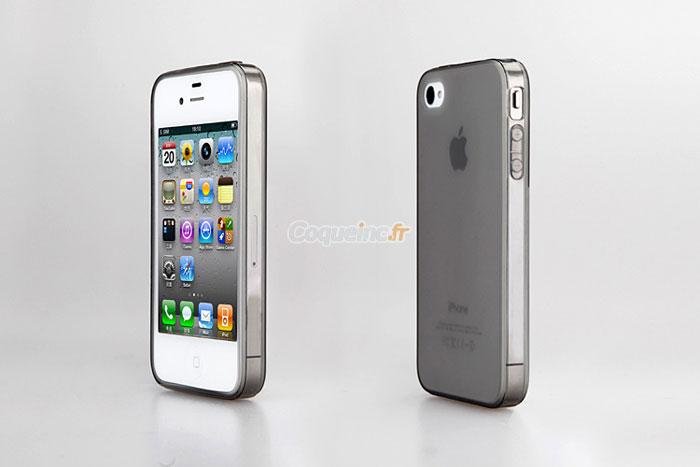 coque apple iphone 4 silicone transparent gris. Black Bedroom Furniture Sets. Home Design Ideas