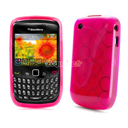 Etui en silicone blackberry curve 8520 cercle rose for Housse blackberry curve