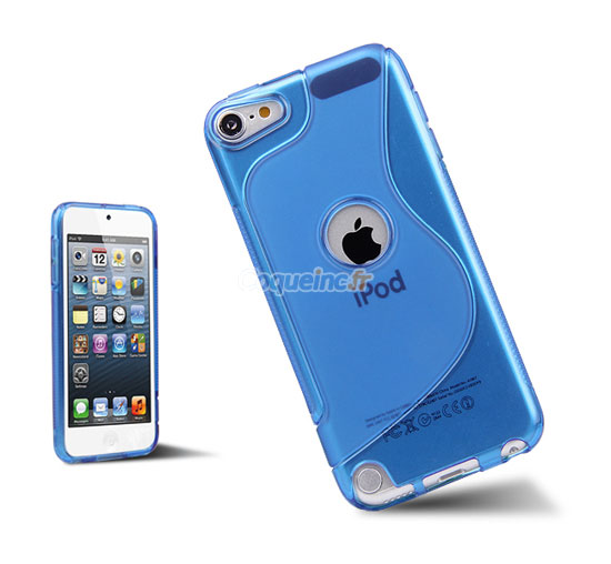 housse silicone apple ipod touch 5 gel s line bleue ciel