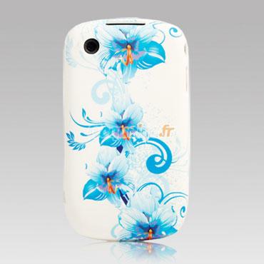 Housse silicone blackberry curve 8520 fleurs bleu for Housse blackberry curve