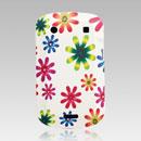 Coque Blackberry Bold 9900 Silicone Fleurs - Verte