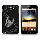 Coque Samsung Galaxy Note i9220 Papillon - Noire