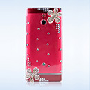 Coque Sony Xperia P LT22i Luxe Diamant Bling Fleurs - Blanche