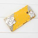 Coque Sony Xperia P LT22i Luxe Diamant Bling Fleurs - Jaune