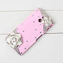Coque Sony Xperia P LT22i Luxe Diamant Bling Fleurs - Rose