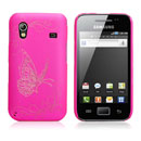 Etui Plastique Samsung Galaxy Ace S5830 Papillon - Rose Chaud