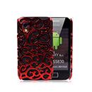 Etui Plastique Samsung Galaxy Ace S5830 Perforee Fleurs - Rouge