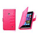 Housse Etui en Cuir Nokia Lumia 520 Crocodile - Rose Chaud