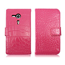 Housse Etui en Cuir Sony Xperia SP M35H Crocodile - Rose Chaud