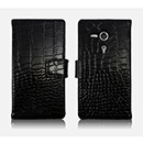 Pochette en Cuir Sony Xperia SP M35H Crocodile - Noire